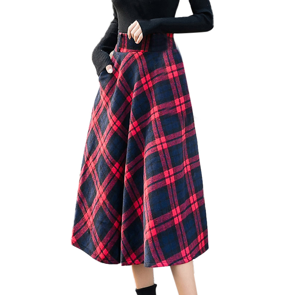 Vintage Rockabilly <font><b>Red</b></font> <font><b>Plaid</b></font> <font><b>Skirt</b></font> <font><b>Women</b></font> 2020 Warm Checked Plus Size High Waist A Line Midi <font><b>Skirt</b></font> Flared Jupe Femme Faldas image