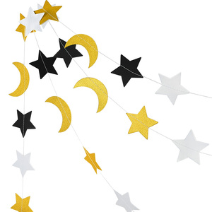 Image 2 - Eid Mubarak kek Topper dize Glitter gümüş altın siyah ay yıldız Garland Bunting ramazan İslam müslüman olay parti malzemeleri