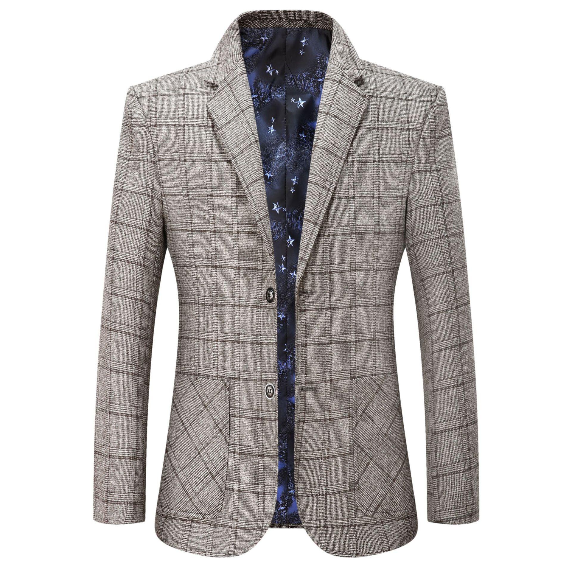 Mens Blazers Autumn Winter Men's Jacket Plaid Suit Coat Men Middle-aged Spring Business Casual Suit Outerwear Jacket Male