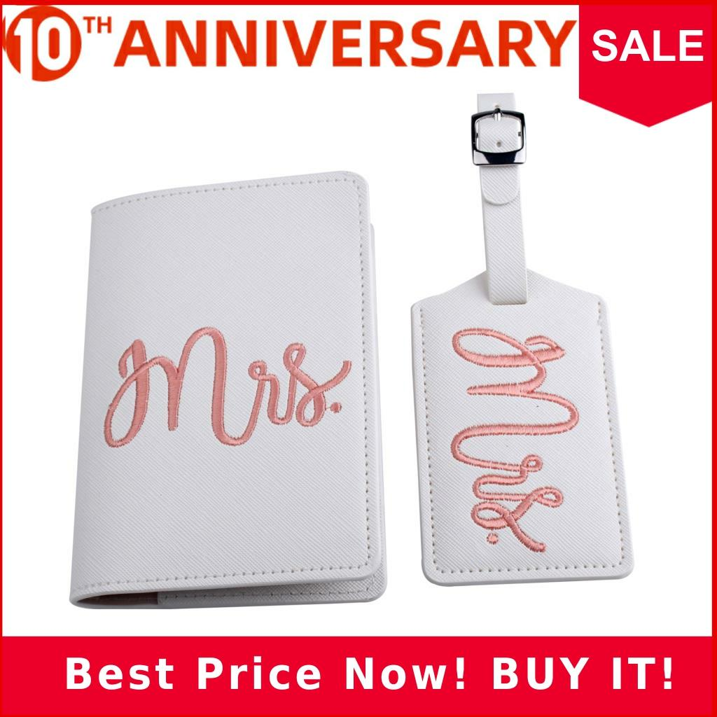 Embroidery Mr Mrs Lover Couple Wedding Passport Cover Case Set Letter Women Travel Credit Card Holder Passport Cover CH17LT36