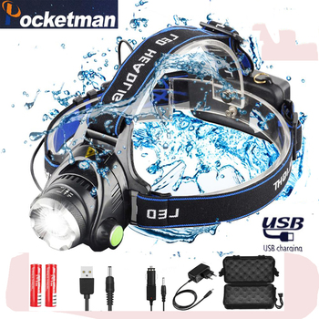 цена на 6000lumens Bright Powerful Led Headlamp L2/T6 Zoomable Headlight Head Torch Flashlight Head lamp by 18650 battery for Fishing