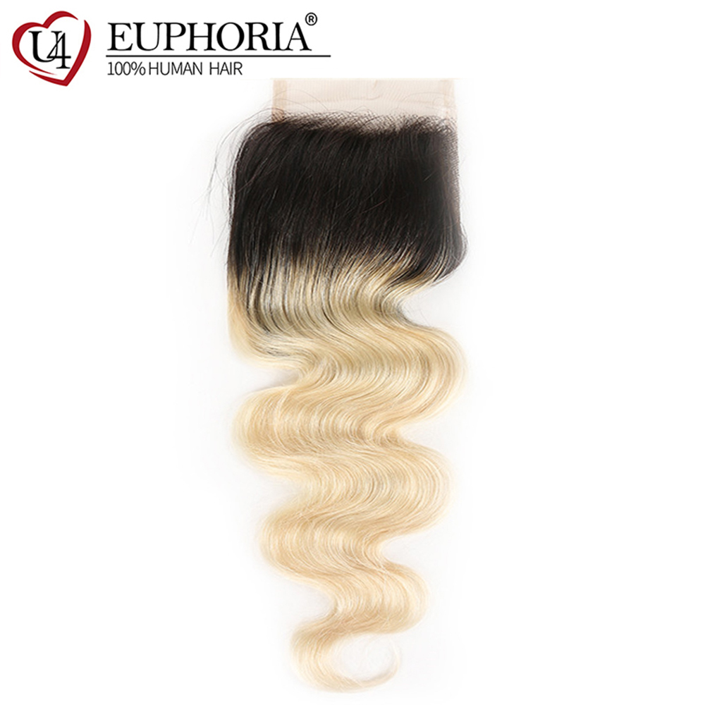 Brazilian Body Wave Lace Closure 4x4 Blonde 1B 613 Ombre Color 100% Remy Human Hair Closures With Baby Hair Euphoria Hairpiece