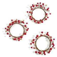 3 шт кольца в форме свечи для колонн красного и золотого цвета