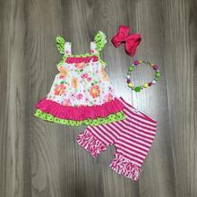 Primavera/verão quente rosa leite seda topo floral flor listra capris bebê meninas roupas de algodão babados boutique conjunto jogo acessório