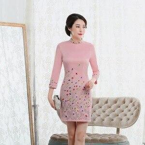 Image 2 - Vestido De Debutante Autumn 2020 New Fashion Retro Cheongsam Dress Quality High end Factory Direct Sale Women With Nine Sleeves
