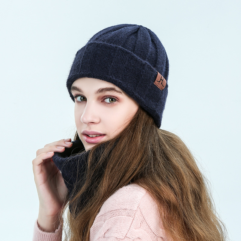 Navy Color Soft Winter Hats Scarf And Gloves Set For Women Kitted Beanies Hat Thicken Women's Scarf For Girls Men Beanies