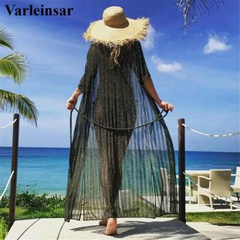 2020 Sexy Black Crochet Tunic Beach Cover Up Elegant Swimsuit Cover-ups Long Beach Dress Beach Wear Beachwear Female Women V2655