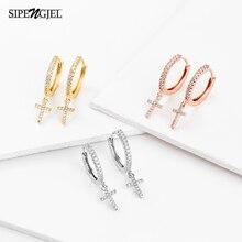SIPENGJEL Fashion Cute Cross Pendant Earrings Cubic Zircon Drop Dangle Earrings For Women Friendship Gifts Jewelry 2021