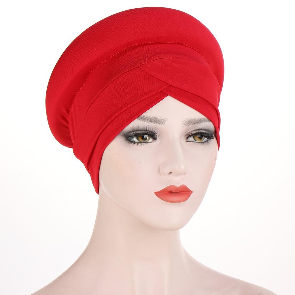 Новинка, однотонный хлопковый женский тюрбан Helisopus, полукруглая шелковая губчатая повязка на голову, мусульманская Кепка, повязка на голову