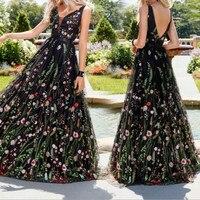 Plus Size Women Elegant Party Dress V neck Sleeveless High Waist Mesh Maxi Dress Embroidered Flower Dress Vestidos De Fiesta