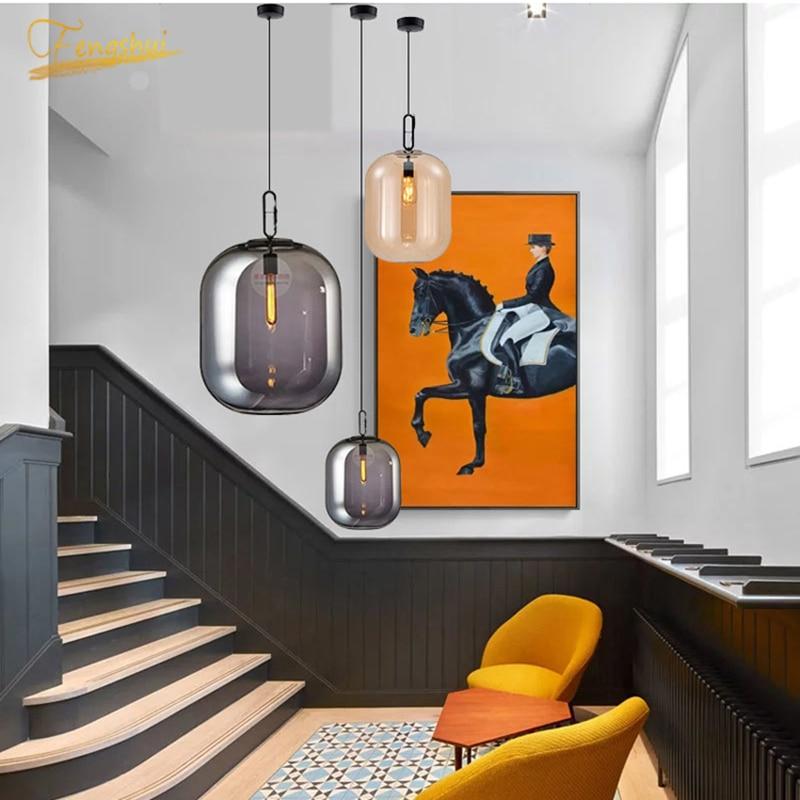 Nordic LED Glass Pendant Lamp Lighting Fixtures Modern Attic Pendant Light Living Room Bedroom Indoor Lamps Decor Hanging Lamps