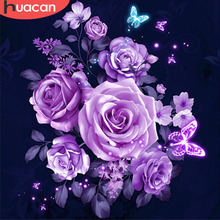 Huacan Diamond Painting Full Square Floral Mosaic Flowers Kits Embroidery Roses Home Decoration