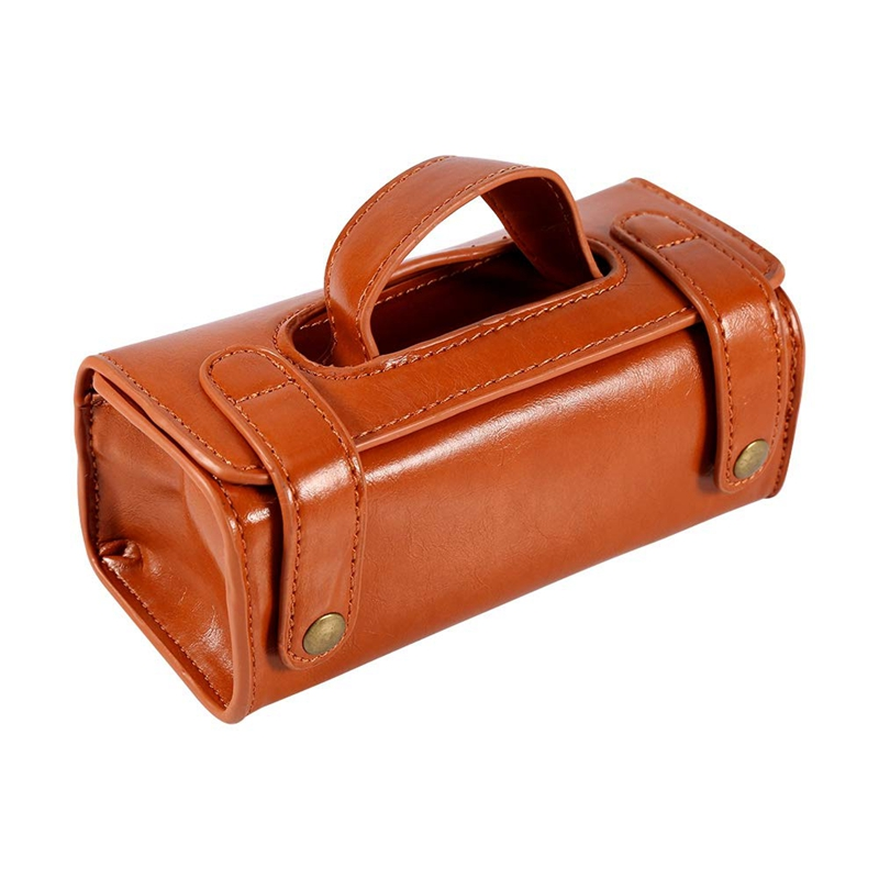 ABZC-Brown PU Leather Men's Cosmetic Pouch Fashion Waterproof Shaving Brush Razor Travel Toiletry Bag