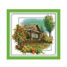 House Cross-Stitch-Kit Flowers Embroidery Diy Canvas 11ct Handmade Needlework Count-Printed