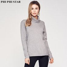 Phi Star Brand turn-down collar Women Sweater Solid Bottoming Basic Sweaters
