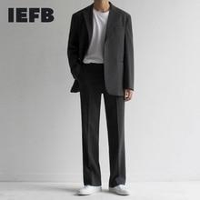 IEFB 2021 Spring New Suit Coat Men's Korean Loose Trend British Casual Small Suit Jacket Back Vent Tide Streetwear OL Blazers