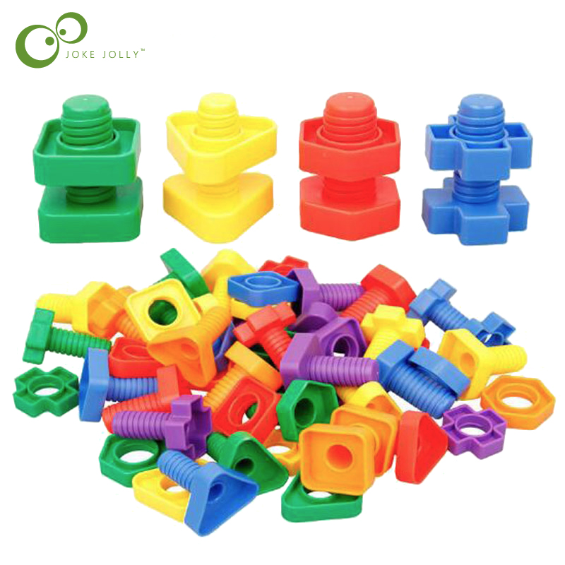 4 sets Screw building blocks plastic insert blocks nut shape toys for children Educational Toys scale models Free Shipping GYH