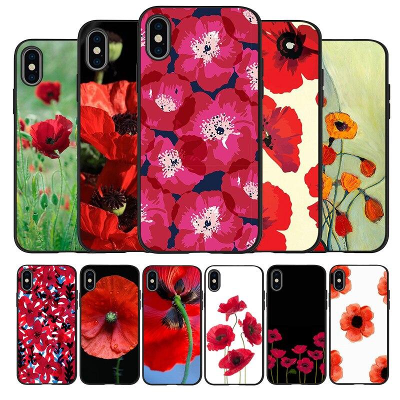 Красных Маков; Цветочный узор; Черный силиконовый чехол для мобильного телефона для iPhone 12 XR XS Макс 5 5S SE 2020 6, 6S, 7, 8 plus X 11Pro Max 11 крышка