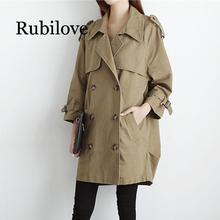 Rubilove 2019 New Spring Autumn Trench Coat Women Long Double-breasted Korean Windbreaker Ladies Casual Loose Large Size Outerwe spring autumn new big size long sleeve lace hooded trench coat large size ladies draw string loose lace elegant coat red black