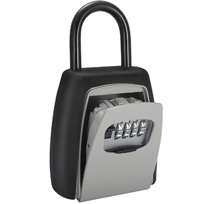 Password Key Box Grey Four-Digit Password Lock Padlock Type Free Installation Padlock Key Lock Box Key Storage Lock Box