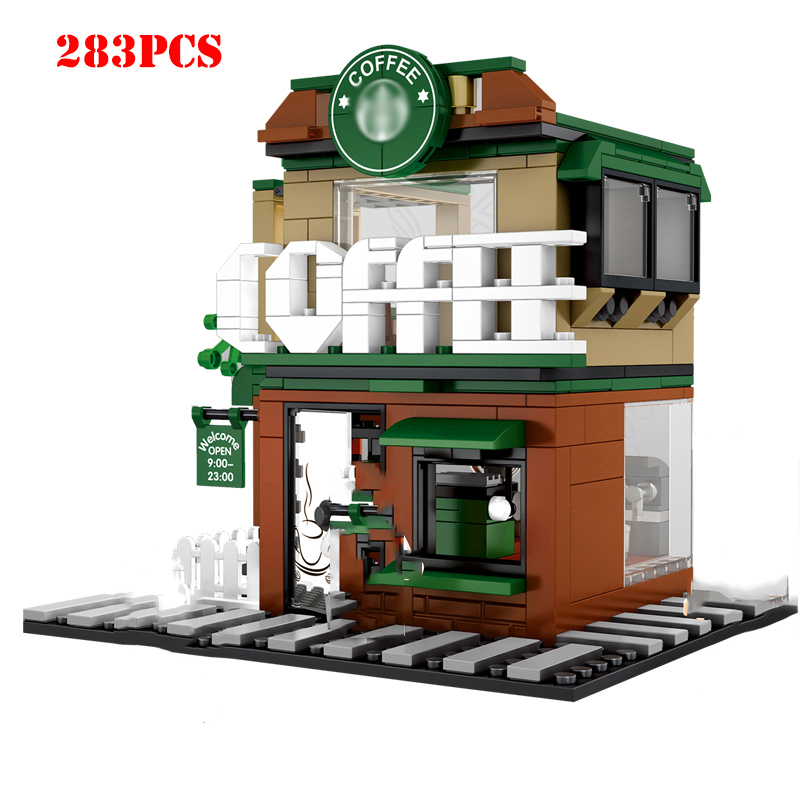 Street Hamburger Cafe Retail Convenience Store Architecture Building Blocks Compatible Legoed Technic City Street View Brick Toy 32