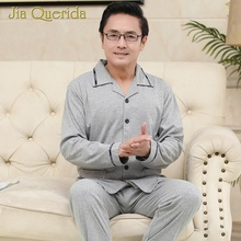 цены 2020 Mens Pajamas Spring New Solid Grey Turn-down Collar Long Sleeves Pants Homeclothes Pajama Sets Button Elegant Men Sleepwear