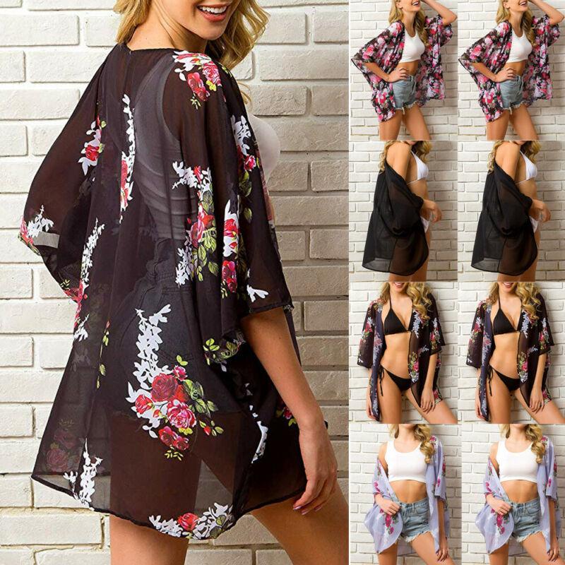 Women Chiffon Beach Dress Bathing Suit Cardigan Swimsuit Bikini Swimwear Cover Up Kimono Pareo Robe De Plage Tunic 2020 Summer