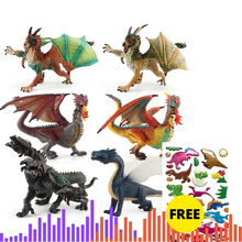 Western Dragon Three headed Dragon Dinosaur Model Toy Best Christmas birthday Gift to Children Kids toys Figure Collective Toys