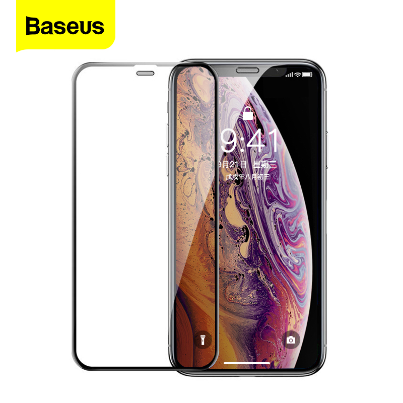 Baseus 0.3mm Screen Protector For iPhone 11 Pro Xs Max X Xr Full Cover Tempered Glass Protective Film For iPhone 11 Protection(China)
