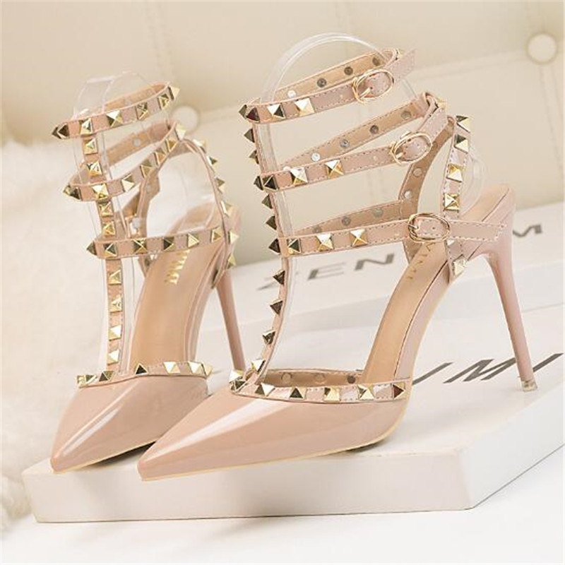 2019 NEW Woman High Heels Shoes Ladies Sexy Pointed Toe Women Pumps Buckle Rivets Nude Heels Shoes Free Shipping