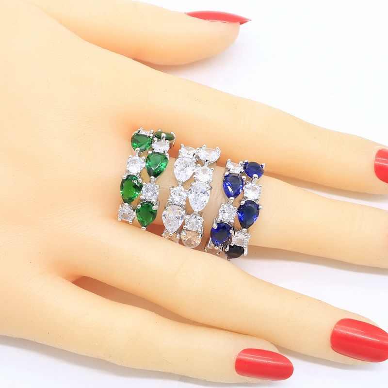 טיפת דמעות של Monla ליזה 925 כסף טבעת עבור נשים גיאומטרי ירוק אמרלד הלבן כחול ספיר תכשיטי מתנה חינם