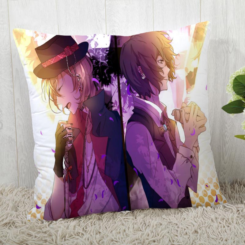 Wholesale 45*45 Pillow Case Bungo Stray Dogs Print For Wedding Pillow Cover Animals Pillowcases