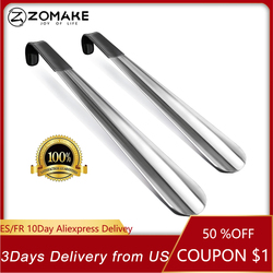 🔥🔥Zomake 2pcs Long Handled Shoe Horn Leather Shoehorn Metal Long No Bending Shoe Spoon Home Tools For Pregnant Backache Eldery