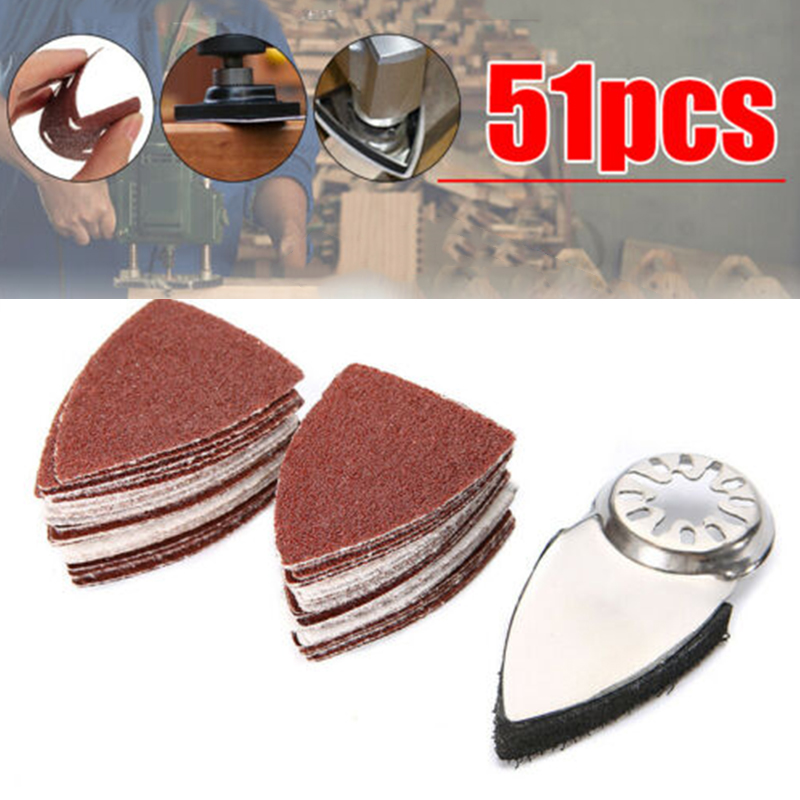 51 X Triangle Sanding Disc Sheet Sand Paper Pad Kit For Fein Oscillating 35x50mm