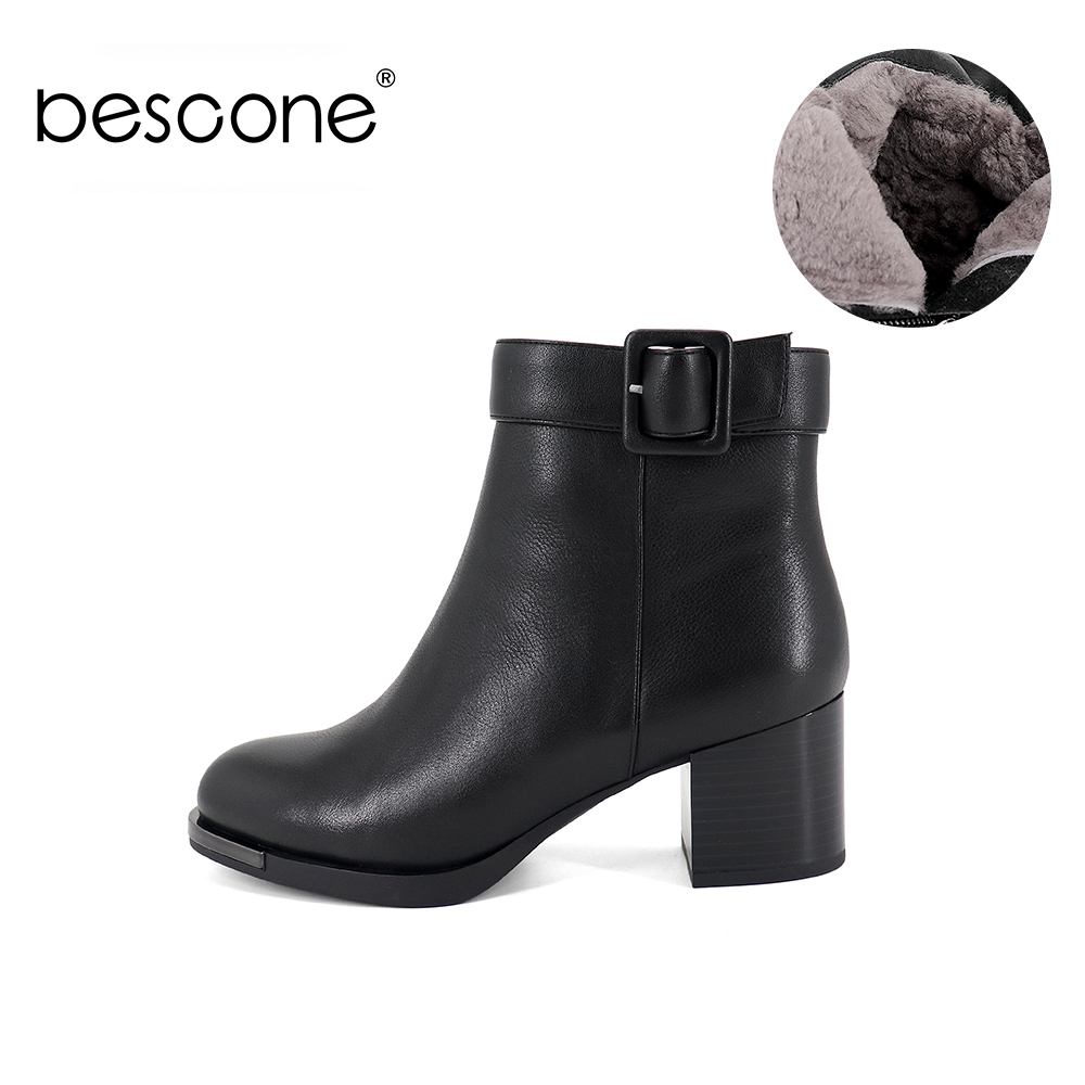 BESCONE Fashion Buckle Boots High Quality Cow Leather Comfortable Round Toe Square Heel Handmade Shoes Women's Boots BC382