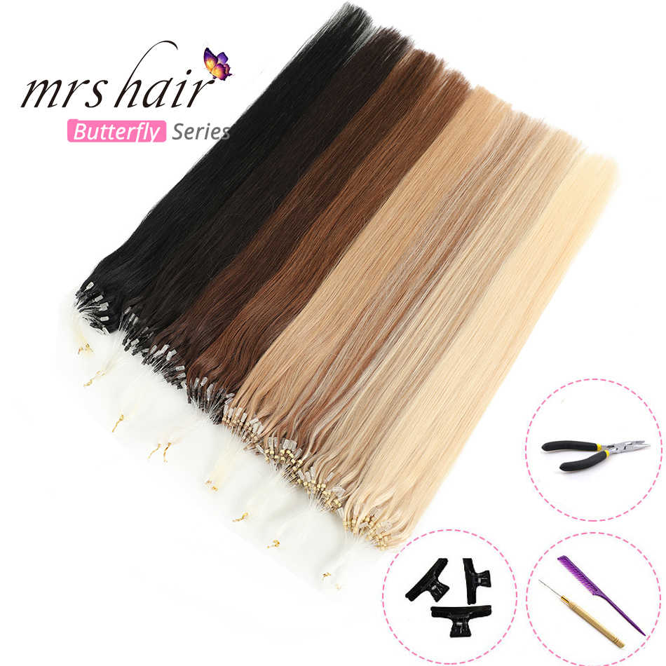 "MRSHAIR Straight Loop Micro Ring Hair 14""-24"" 1g/pc 50pieces Micro Bead Links Machine Remy Easy Ring Link Hair Extensions"
