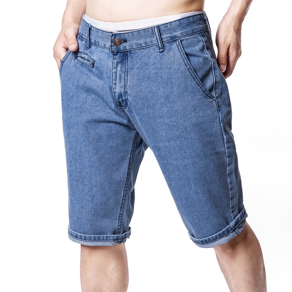 2019 Summer New Style MEN'S Jeans Men's Solid Color Casual Straight-Cut Breeches Shorts Washing Faded Shorts