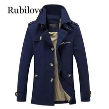 Rubilove Brand New Mens Casual Trench Coat Wind Breaker Fashion Designer Plus Size For Men Pull Homme Outwear