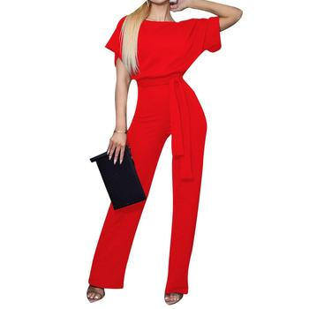Solid Color Women Short Sleeve Round Neck Jumpsuit Belted Long Pants Romper Round Neck Jumpsuit Belted Long Pants Romper Women фото