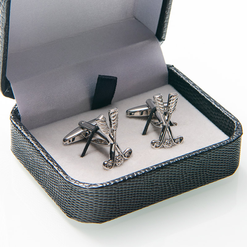 Retail Business Golf Set Cufflinks For Men Silver Plated Copper Quality Cuff Buttons For French Shirt Wedding