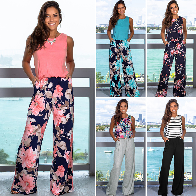 Printed Patchwork Long Women Romper Tank Vest Sleeveless Loose Straight Jumpsuits Pocket High Waist Loose Office Women Clothes