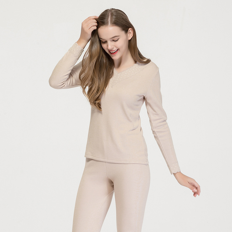 Silk Velvet And Warm Underwear Set Female Mulberry Silk Knitted V-collar Thickened And Velvet Bottom Autumn Dress Long