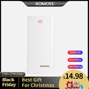 ROMOSS Sense 6 LED Power Bank 20000mAh Dual USB Powerbank Portable Charger External Battery With LED Display For iPhone Huawei