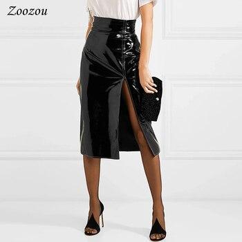 Sexy Black Split Side Patent Leather Pencil Skirt Women's High Waist Knee Length Skirt Elegant Office Lady's Latex Skirt Custom 1