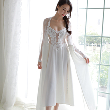 4 Kleuren Lace Lingerie Satijn Bruiloft Lange Nacht Jurk Borduurwerk Nachthemden Vrouwen Nachtkleding Lange Mouw Gewaad Mooie Homewear