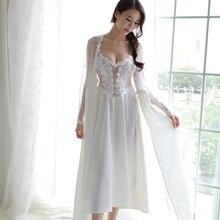 4 ألوان الدانتيل الساتان الملابس الداخلية الزفاف فستان سهرة طويل التطريز قمصان النوم النساء ملابس خاصة طويلة الأكمام رداء جميل Homewear