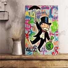 Alec Monopolies Riding Money Pop Art Canvas Painting Print Bedroom Home Decoration Modern Wall Art Oil Painting Poster Pictures pop art alec monopoly hd canvas painting print living room home decoration modern wall art oil painting posters pictures artwork