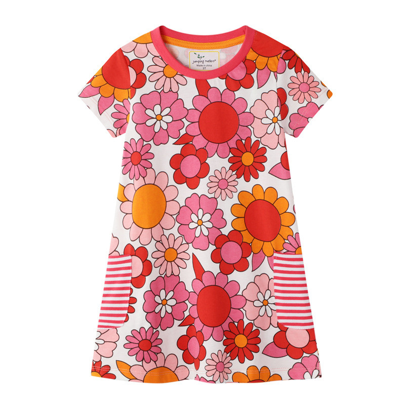 Jumping Meters New Arrival Summer Girls Flowers Dresses With Pockets Baby Clothes Floral Kids Cotton Tunic Toddler Girls  Dress