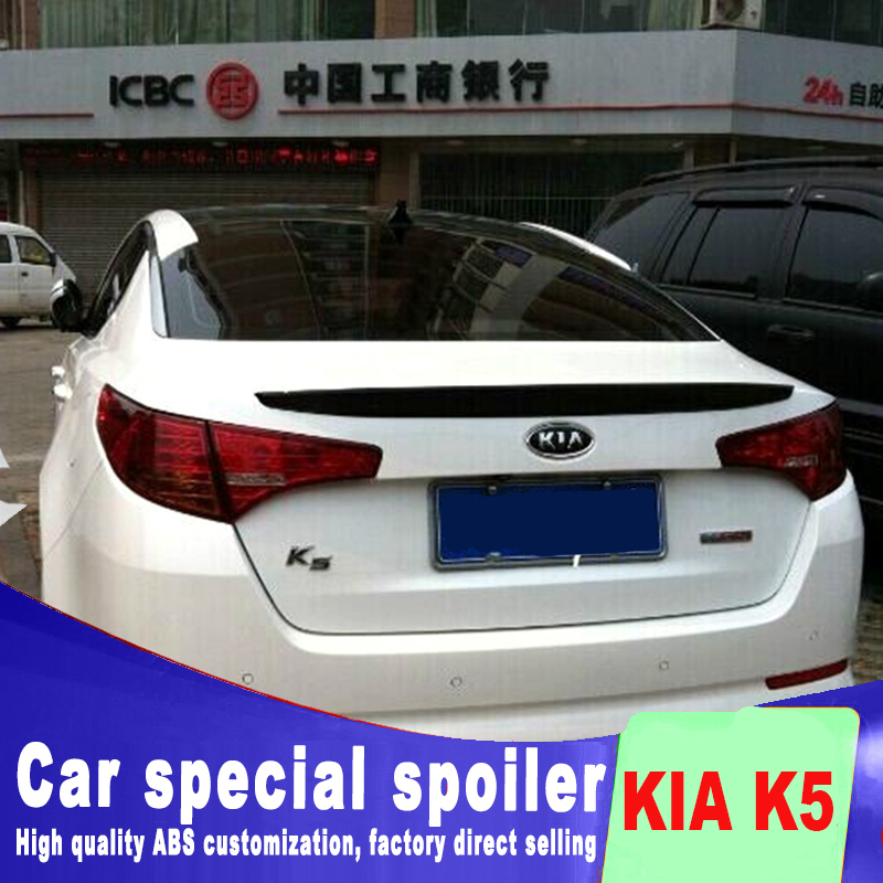 mini fashion high quality ABS for KIA Optima K5 2011 2012 2013 rear trunk wing rear spoiler K5 primer or any color spoilers image