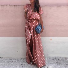 2019 New Summer Sexy Women Pink Dresses Dot Print V-Neck Maxi Dress Elegant Side Slit Long Dress With Belt Short Sleeve Dresses